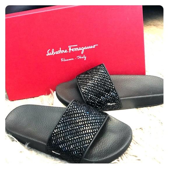 f762e1f2f70b85 Salvatore Ferragamo Groove Black Slides Sandals 5